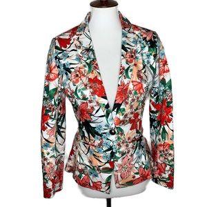 XOXO Floral 1-Button Cotton Blazer